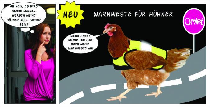 Warnwesten Comic - wie sehe ich mein Huhn bei Nacht