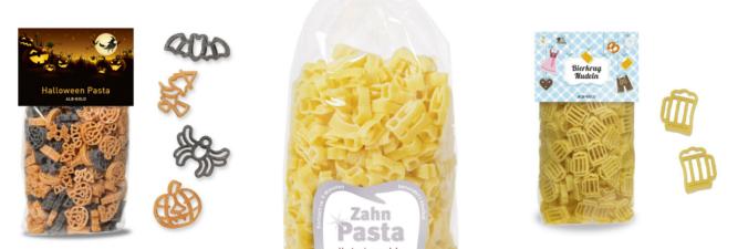 Alb-Gold Pasta in Form von Zähnen, Bierkrügen, Halloween Pasta