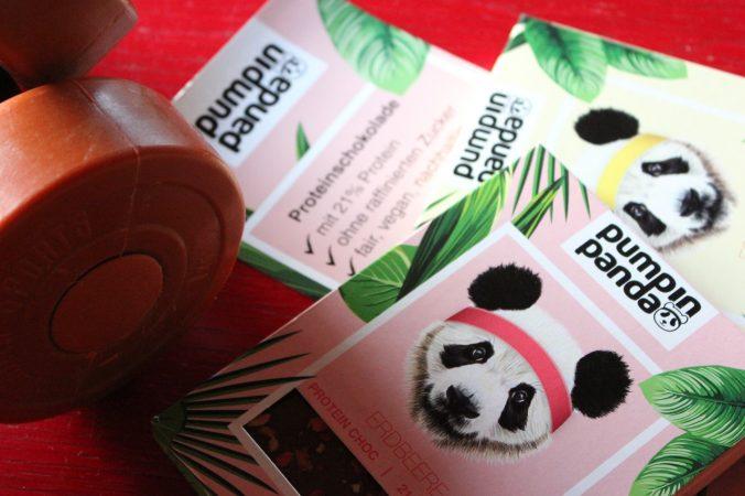 PumpinPanda, leckere Eiweiss Schokolade als Belohnung nach dem Training - cooles Design, schöne Geschäftsidee
